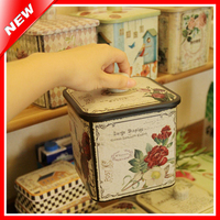 Country Style Home Decor Retro Tin Box Candy Biscuit Cookie Storage Metal Box Caddy Kitchen Tea