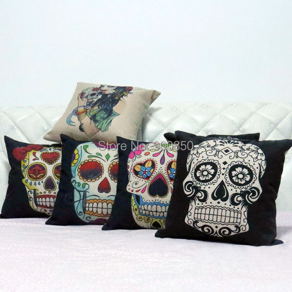 Home Decorative Cotton Linen Skull Pillow Case Waist Hold Cushion Pillowcase Pillow Case For Bed