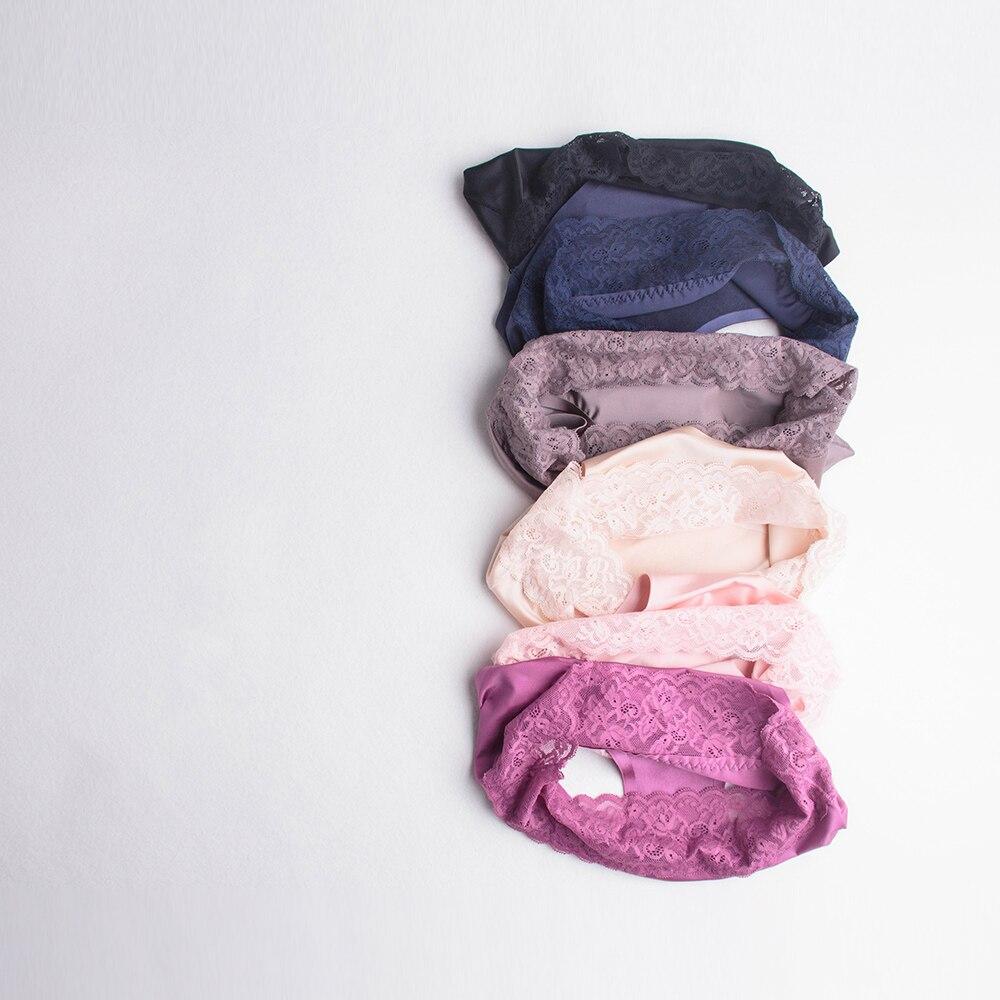 DULASI Sexy Silk Panties Women Underwear Seamless Lace Cotton Mid-Rise Cute Briefs For Girls Ladies Bikini Erotic Panty 4pcs/lot 3