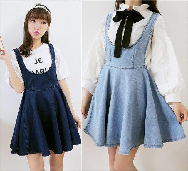 Mori Girls Japanese Preppy Style Slim Denim Overalls Dresses Summer ...