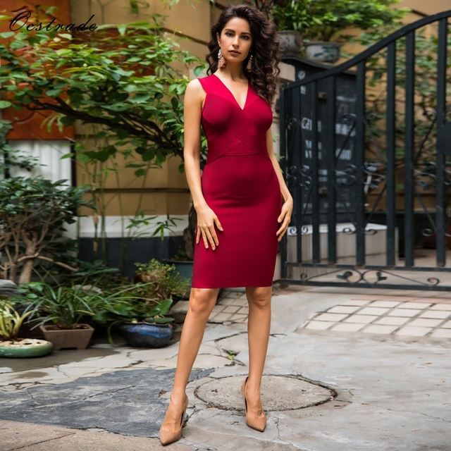 Ocstrade New Arrival Summer 2018 Bandage Dress Wine Red Women Cross Front Deep-v Neck Hot Sexy Party Dresses Night Club Dress