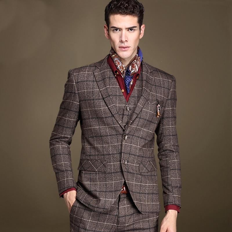 Plaid Brown Suit - Hardon Clothes