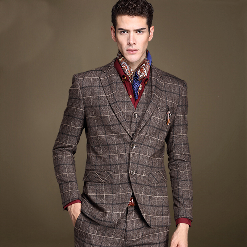 Male Slim Suits Three Piece Set Fashion Vintage Men Brown Plaid ...