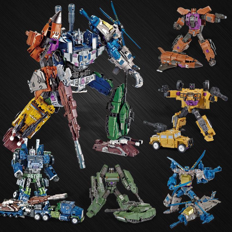 44cm 5 in 1 Alloy Transformation Robot Car Toys Action Figure model For Children Cool Voltron Soul Beast King Toys For Kids abbyfrank 5 in 1 transformation car assembly action figure toys truck plastic engineering vehicles robot christmas toy for kids