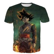 Newest Classic Anime Dragon Ball Z Super Saiyan 3D T-Shirt Fire Black Goku print t shirts Galaxy t shirt Hip Hop Tees Tops R2310