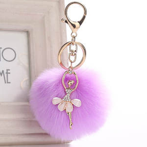 Trinket Keychains Jewelry Key-Ring Fur Gift Rhinestone Fluff Fake Little Women Cute Car-Bag