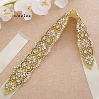 Crystal Bridal Sash Rhinestone Rhinestone Wedding Party Pearl Sash Bridal accessories Wide Ribbon S139G
