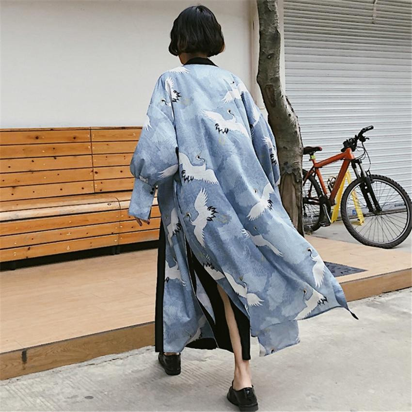 Traditional Kimono Women Ukiyo-e Cardigan Crane Men Japanese Style Haori Long Robe Yukata Harajuku Streetwear Samurai Costume