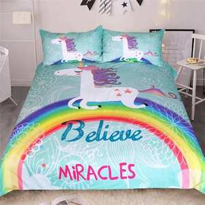 Image 1 - Rainbow Unicorn Bedding Set Believe Miracles Cartoon Single Queen King Size Bed Duvet Cover Animal for Kids Girls 3pcs