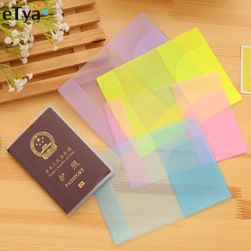 Colourful Travel Women Men Passport Cover Waterproof Transparent Clear Card Passport Holder Wallet Purse Case Bag Color Random