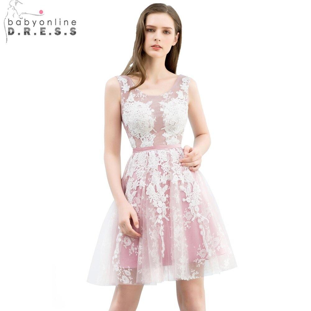 Babyonline Elegant Lace Tulle Short   Prom     Dresses   2019 Sexy Backless Blush Pink Party   Dresses   vestido de festa