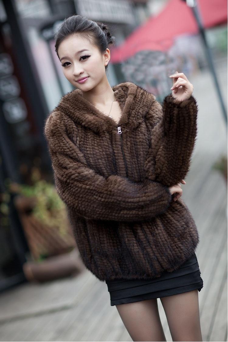 Hot Sales Real Knit Mink Fur Jacket For Women Top Fashion Natural ...