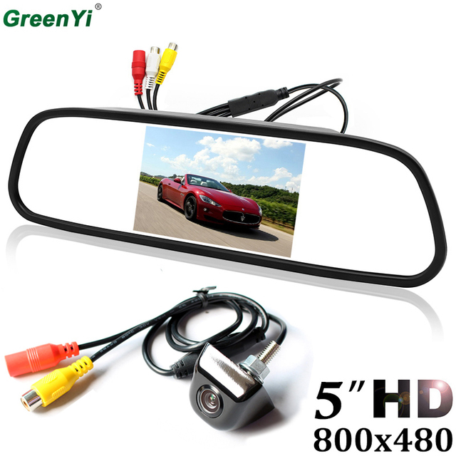 "5"" inch 800*480 TFT LCD Car Monitor Parking Rear View Monitor With 2 Video Input Auto CCD Night Vision Reverse Backup Camera"