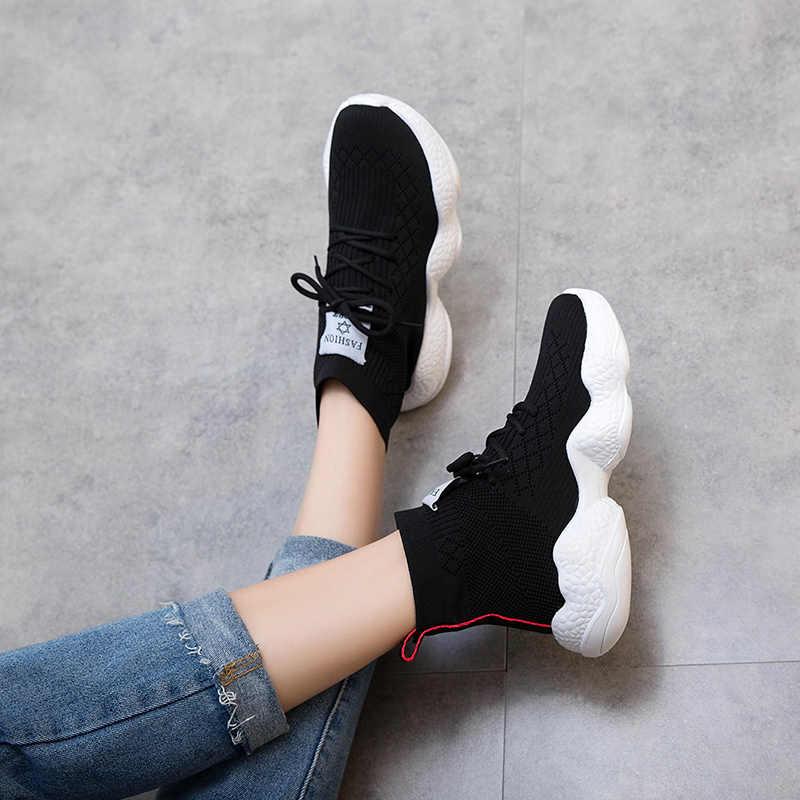 y Zapatillas altas negras de de punto para 4 elásticas gruesa transpirableszapatos calcetínzapatillas plataforma mujerzapatos suela de con de 6gymb7fIYv