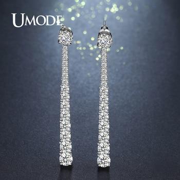 d0978a140870 Umode lujo forma larga barra simple cristal Pendientes de gota para las  mujeres moda joyería oro