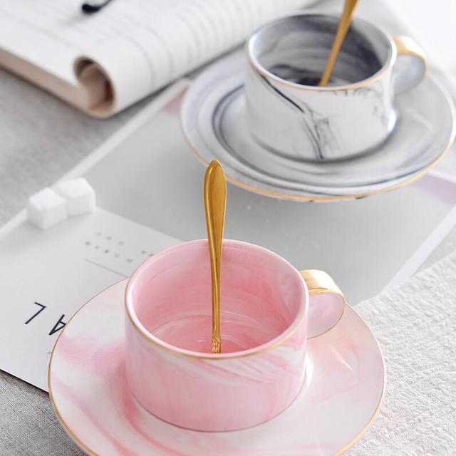 Nordic marbled ceramic coffee cup and saucer set European luxury English afternoon teacup 304 stainless steel spoon coffee cup