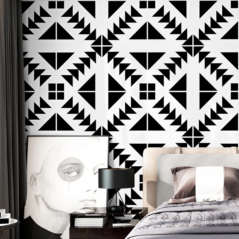 Black And White Wallpaper Abstract Gird Nordic Style