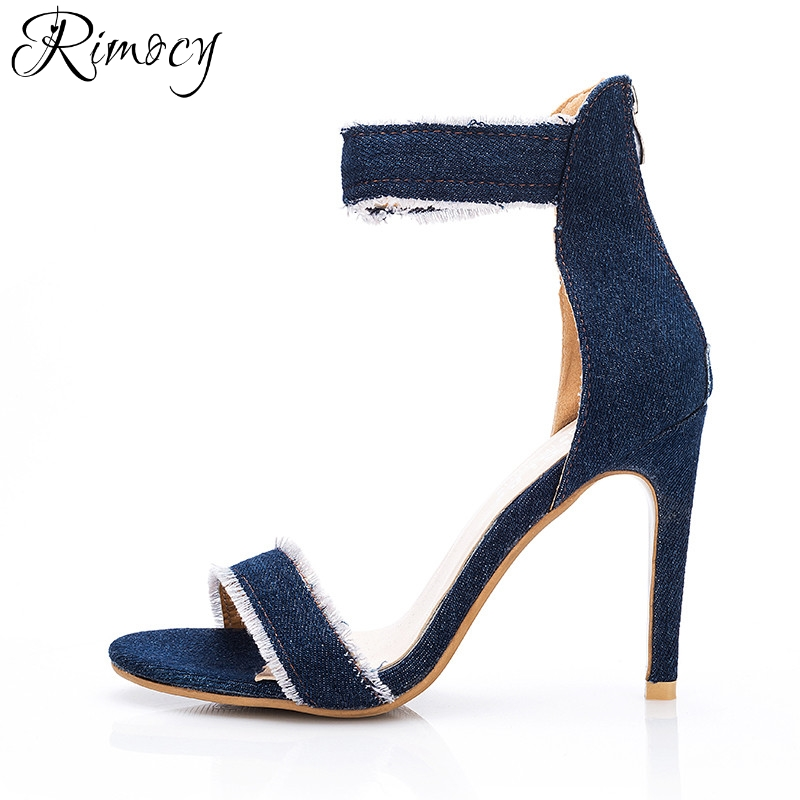 e7159a4d03ae Rimocy ripped blue jeans ankle wrap women sandals gladitor super thin high  heels back zip woman pumps fashion ladies denim shoes-in High Heels from  Shoes on ...
