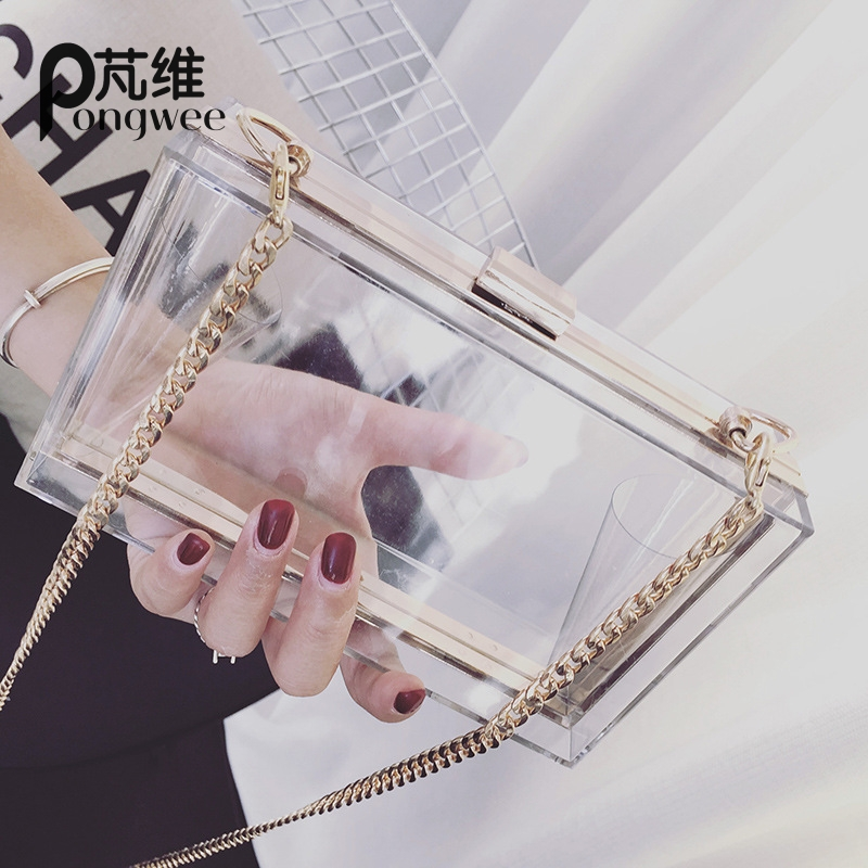 PONGWEE Chain Evening Bag Ladies Small Square Package Clear Plastic Handbags Bags ClassicAcrylic Women Clutch Shoulder Messenger shoulder messenger mini candy bag small square package 2017 summer fashion handbags women messenger bags tide packet chain bag