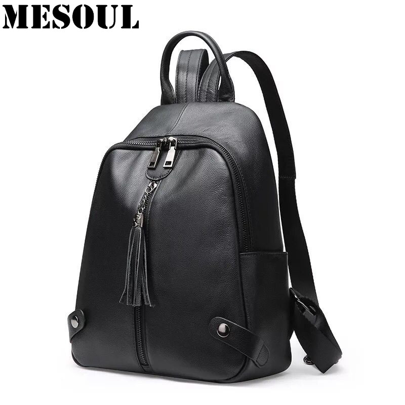 Fashion Tassel Backpack Women Bag Genuine Leather School Bags For Girls Backpacks For Women 2017 New Travel Shoulder Bags Female