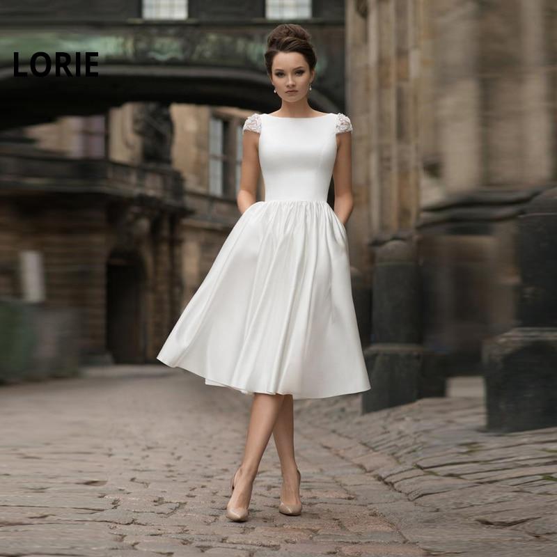 LORIE Short Wedding Dresses 2019 Cap Sleeve Backless Wedding Gowns Stain Bride Dresses 2019 Wedding Guest Dresses Custom