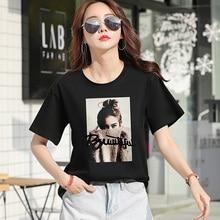 Women's T-shirt Short Sleeve T-Shirt Cotton Printed Round Neck T Shirt Top Blusas Summer T Shirt недорго, оригинальная цена