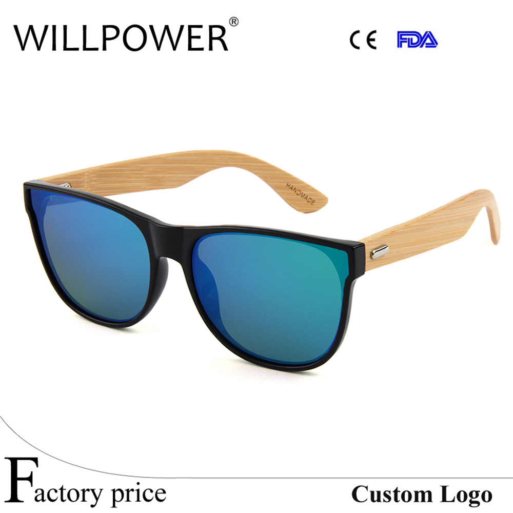 Markendesigner Willenskraft Mirror Klassische Sonnenbrille Spiegel Männlich Männer Lens Weiblich Bomboo Handgemachte Frauen Shades Green Uv400 Holz Vintage SrwqSAY