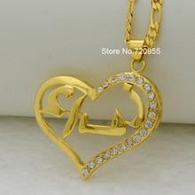 Anniyo Не Можете Настроить/Сердце Арабское Название Ожерелье для Женщин Ислам Ювелирные Изделия Цепь Золотая Цвет Ближнего Востока