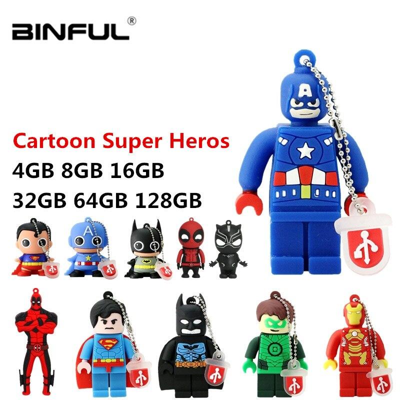 Spiderman Superman usb flash drive cartoon usb 2.0 pen drive 4gb 8gb 16gb 32gb 64gb 128gb pendrive usb stick free shipping (1)
