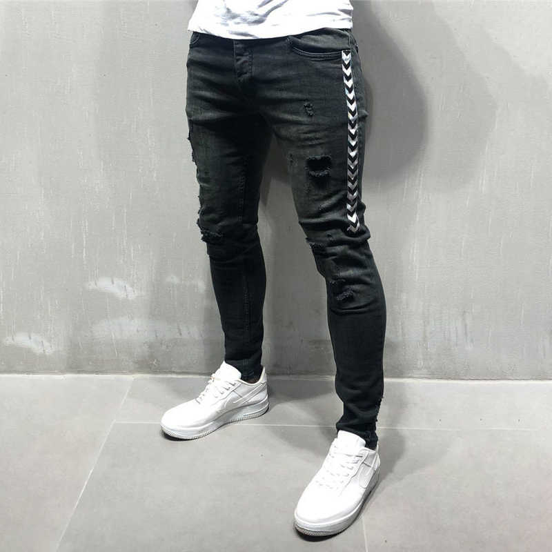 Мужские обтягивающие черные джинсы в полоску в стиле хип-хоп, уличная одежда с необработанными краями, рваные обтягивающие джинсы с принтом, новинка 2019, легкие хлопковые джинсы