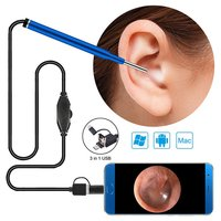 Endoscopic Ear Cleaning Camera 3 in 1 1.0mm 720p HD 3.9 MP Borescope Otoscope Inspection Camera Visual Tool for Android