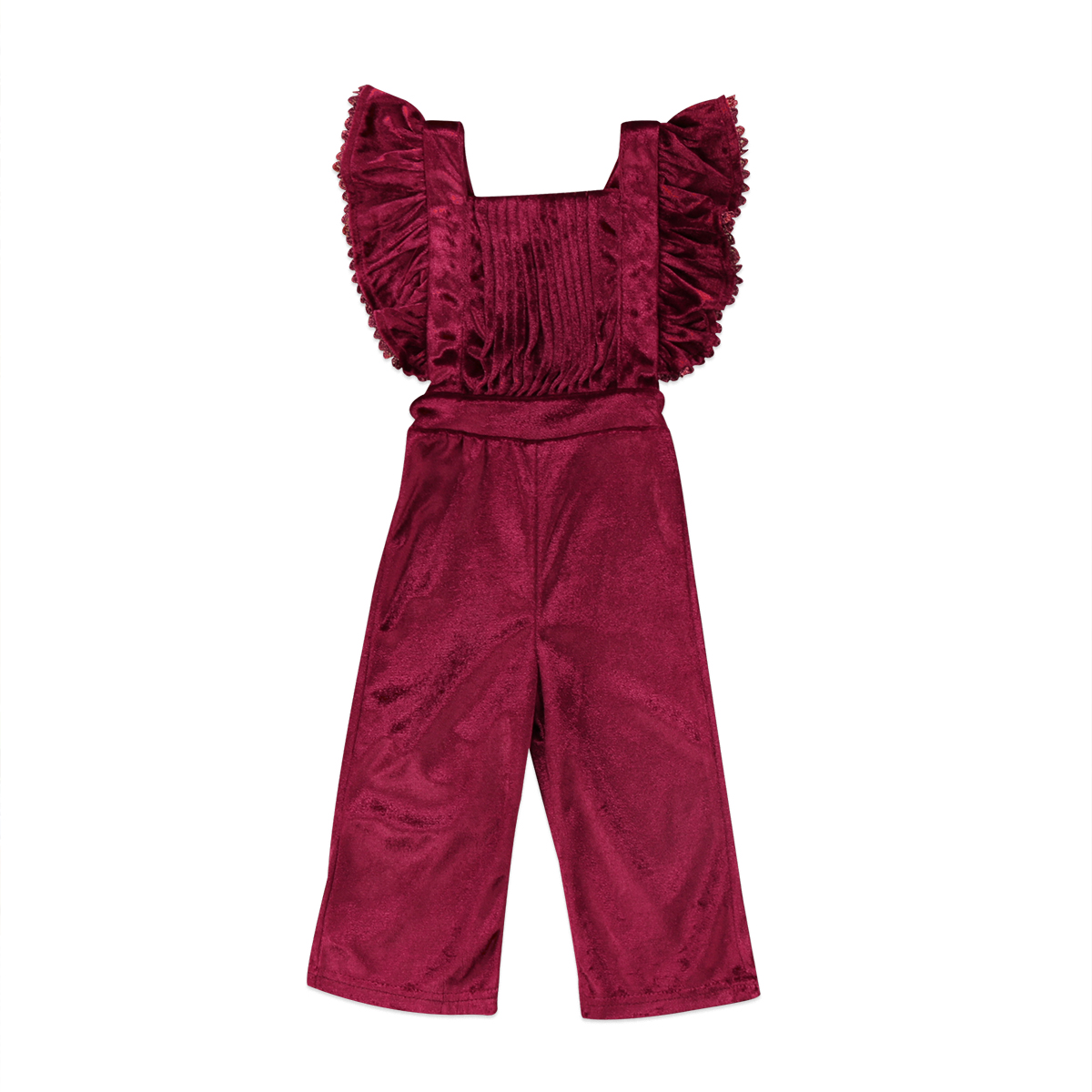 Fashion Toddler Kids Girls Velvet Flying Sleeves Long   Romper   Bib Pants Backless Jumpsuit Outfit Clothes