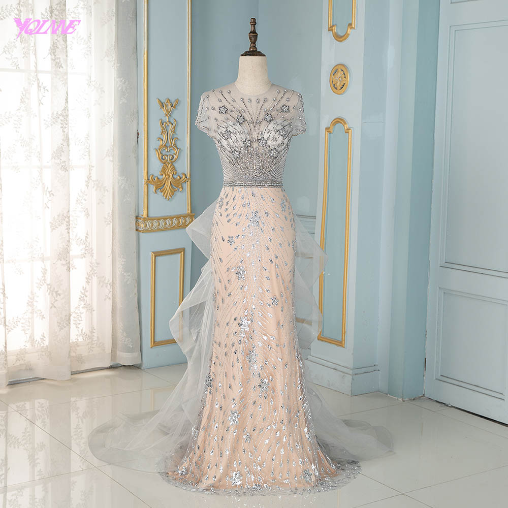 Fashion Silver Rhinestones Mermaid Evening Dress Long Cap Sleeve