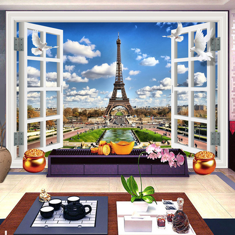 3D Window Landscape Blue Sky Blue Clouds Eiffel Tower Photo Background Decor Mural Wallpaper For Walls Wall Painting Living Room