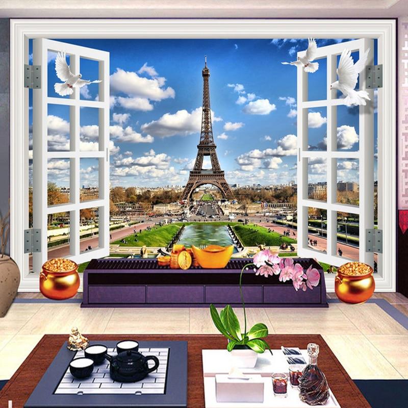 3D Window Landscape Blue Sky Blue Clouds Eiffel Tower Photo Background Decor Mural Wallpaper For Walls Wall Painting Living Room blue sky чаша северный олень
