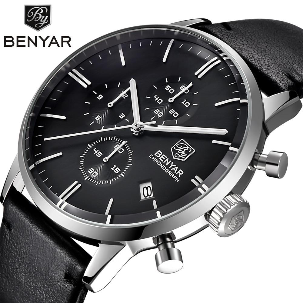 BENYAR Fashion Luxury Brand Men s Leather Watch Business Quartz Watch Stainless Steel Case Waterproof Watches