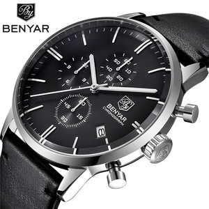 Image 1 - BENYAR Mode Luxe Merk mannen Lederen Horloge Zaken Quartz Horloge Roestvrij Staal Waterdicht Horloges erkek kol saati