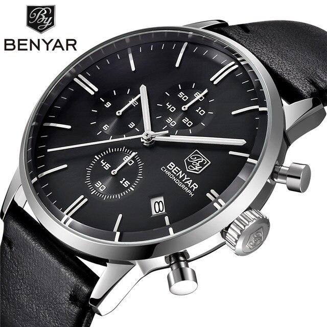 BENYAR Mode Luxe Merk mannen Lederen Horloge Zaken Quartz Horloge Roestvrij Staal Waterdicht Horloges erkek kol saati