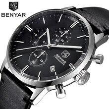 BENYAR ファッションの高級ブランド男性の革腕時計ビジネスクォーツ時計ステンレススチールケース防水腕時計 erkek kol saati