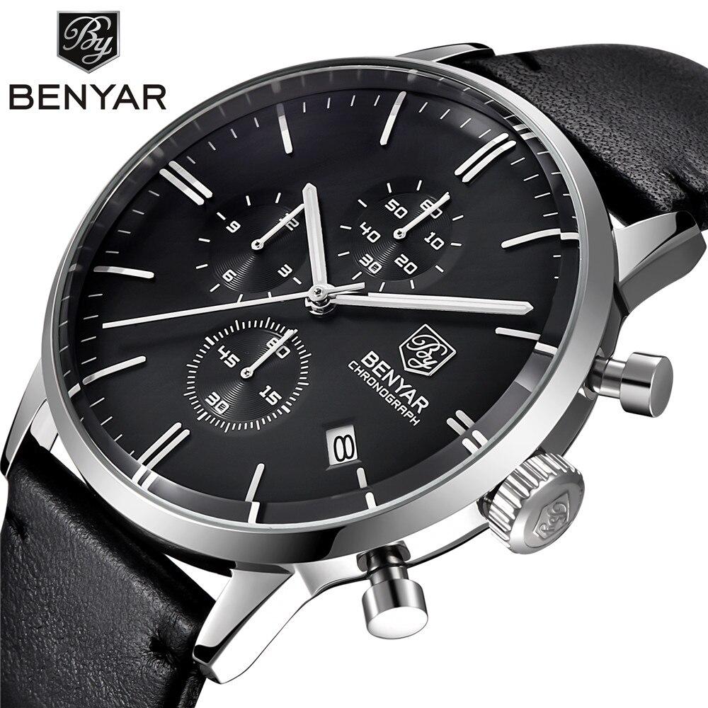 BENYAR mody luksusowej marki męskie skórzane zegarek kwarcowy zegarek biznes opakowanie ze stali nierdzewnej zegarki wodoodporne erkek kol saati w Zegarki kwarcowe od Zegarki na  Grupa 1