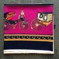 Coche de Caballos real Square Foulard Bufanda de Seda Mujeres de la Marca de Primavera Brillante Color Wraps Mujer CALIENTE [0135]