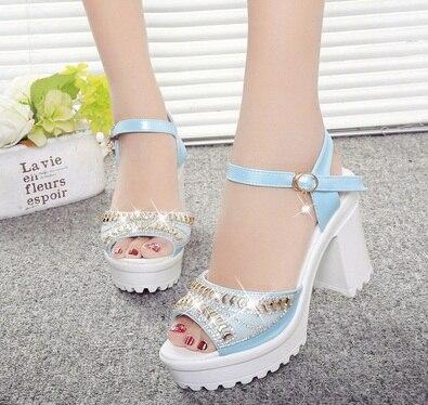 2016 Sommer Stil Frauen Schuhe Keil Dick Mit High Heel Sandalen Weiblichen Plattform Pailletten Diamant Wasserdichte Plattform Peep- Kappe