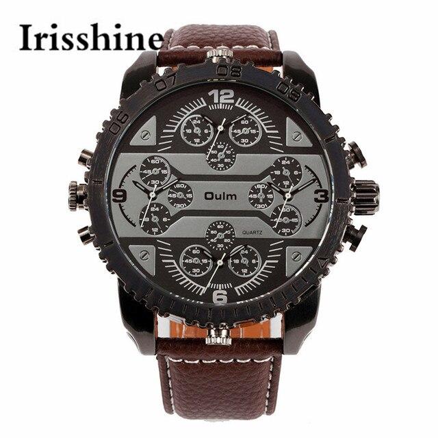 Irisshine i0600 reloj de los pares unisex de Lujo de Pulsera de Cuarzo Dial Grande nueva moda Reloj deportivo hombres 4 zona horaria analógica Starp cuero