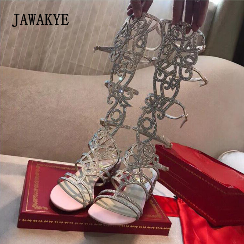 ... Toe Woman Gladiator Knee Open Sandals Shoes Summer Boots Chunky Luxury  2018 The Hollow Sexy Over ... 236756c7dc94