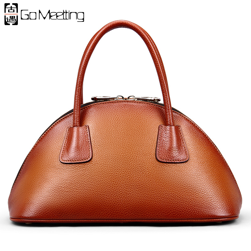 Go Meetting Brand Genuine Leather Women's Handbags High Quality Vintage Totes Women Bag Cowhide Bowlingbag Top-Handle Bags женские часы go girl only go 694925
