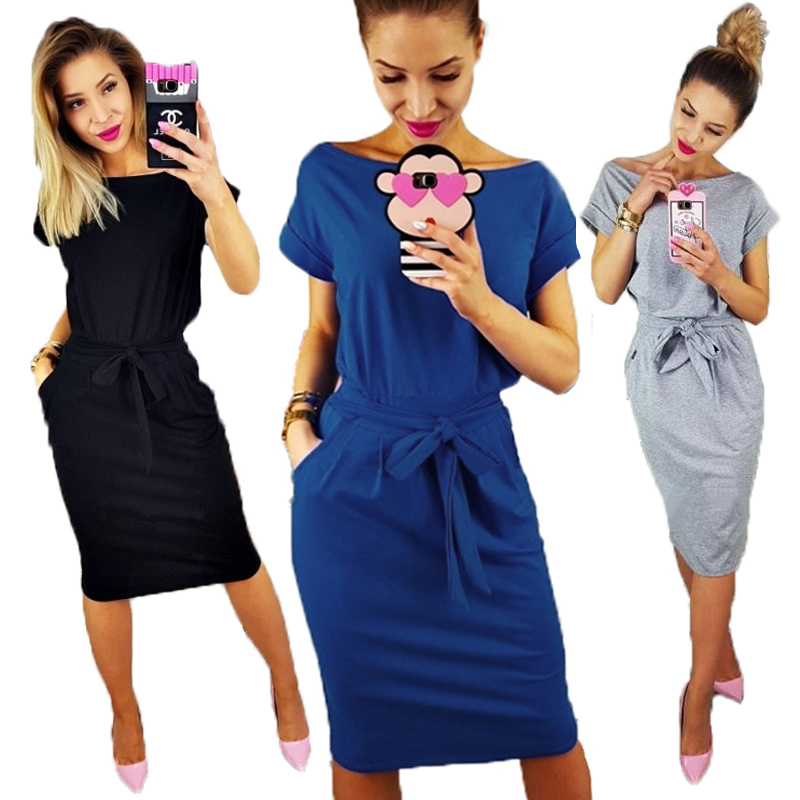 Женское платье-футболка с коротким рукавом, повседневное синее Хлопковое платье с карманами большого размера, 2020