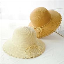 SUOGRY 2019 Hot Sale Round Top Raffia Wide Brim Straw Hats Summer Sun for Women With Leisure Beach Lady Flat Gorras