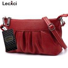 Lecxci luxus Damen frauen Aus Echtem Leder Kleine Zip Clutch Crossbody Umhängetasche Handtasche mit Handschlaufe