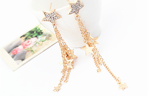 Free Shipping 2017 New Design Diamante Star Ear Chain Tel Long Chains Earrings For Women Gold In Drop From Jewelry Accessories On