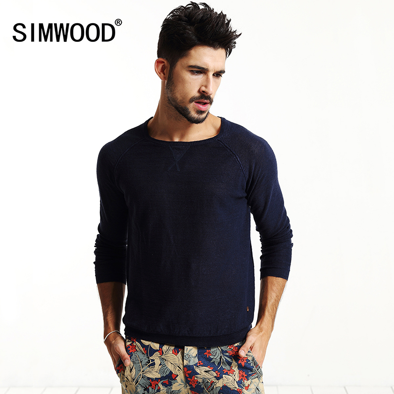 SIMWOOD brand 2017 new autumn winter sweater men fashion pullovers linen knitwear slim fit clothing MY2007
